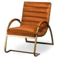 Image 1 - Burnt Orange And Brass Ribbed Ark Chair