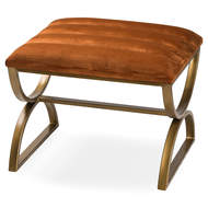 Image 1 - Burnt Orange And Brass Ribbed Footstool