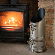 Coal Scuttle In Antique Pewter Finish