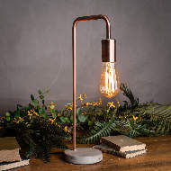 Image 3 - Copper Industrial Lamp With Stone Base