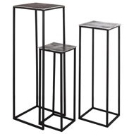 Image 2 - Farrah Collection Silver set of Three large Display Tables