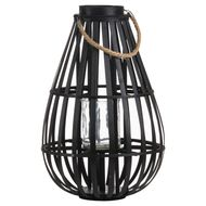 Floor Standing Domed Wicker Lantern With Rope Detail