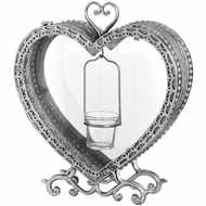 Free Standing Heart Tealight Lantern in Antique Silver