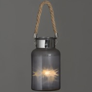 Image 2 - Frosted Glass Lantern with Rope Detail and Interior LED