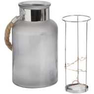 Image 3 - Frosted Glass Lantern with Rope Detail and Interior LED