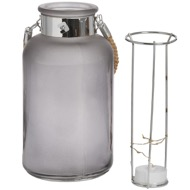 Image 3 - Frosted Grey Glass Lantern with Rope Detail and LED