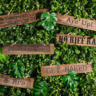 Image 2 - Get Naked Rustic Wooden Message Plaque