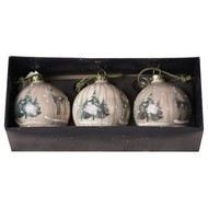 Image 2 - Glass Marbled Bauble With Reindeer Scenery