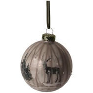 Image 1 - Glass Marbled Bauble With Reindeer Scenery