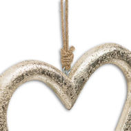 Image 2 - Gold Wooden Heart Hanging Decoration