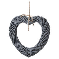 Image 1 - Grey Large Wicker Hanging Heart With Rope Detail