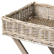 Image 2 - Grey Wash Wicker Basket Butler Tray