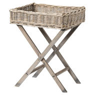 Image 1 - Grey Wash Wicker Basket Butler Tray
