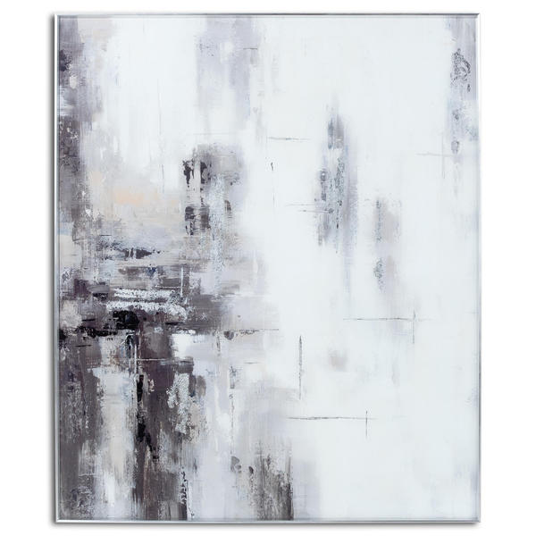 Image 1 - Hand Painted Black And White Soft Abstract Painting