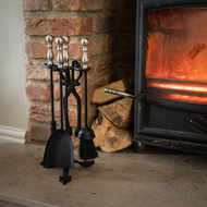 Hand Turned Fire Companion Set In Black With  Pewter Handles