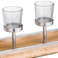 Image 2 - Hardwood Display Tray With Four Glass Tealight Holders