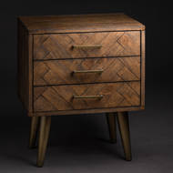 Image 4 - Havana Gold 3 Drawer Bedside Table