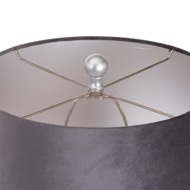 Image 3 - Honey Comb Silver Table Lamp With Grey Velvet Shade
