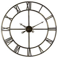 Image 1 - Large Antique Brass Skeleton Wall Clock