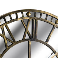Image 2 - Large Antique Brass Mirrored Skeleton Wall Clock