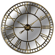 Image 1 - Large Antique Brass Mirrored Skeleton Wall Clock