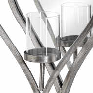 Image 2 - Large Antique Silver Mirrored Heart Candle Holder