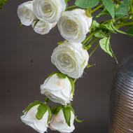 Image 2 - Large Classic White Artificial Spray Rose