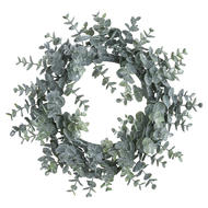 Image 1 - Large Frosted Eucalyptus Candle Wreath