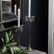 Image 4 - Large Silver Palm Tree Candle Holder In A Nickel Finish