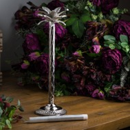 Image 6 - Large Silver Palm Tree Candle Holder In A Nickel Finish