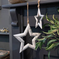 Image 3 - Large Silver Wooden Star Hanging Decoration