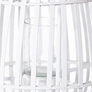 Image 2 - Large White Floor Standing  Domed Wicker Lantern With Rope