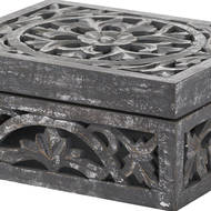 Image 2 - Lustro Carved Antique Metallic Wooden Box