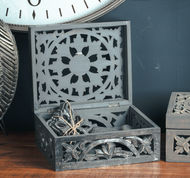 Image 3 - Lustro Carved Antique Metallic Wooden Box