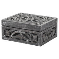 Image 1 - Lustro Carved Antique Metallic Wooden Box