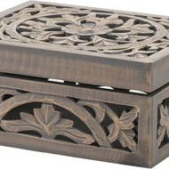 Image 2 - Lustro Carved Grey Wash Wooden Box