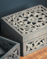 Image 3 - Lustro Carved Grey Wash Wooden Box
