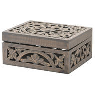 Image 1 - Lustro Carved Grey Wash Wooden Box