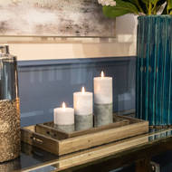 Image 3 - Luxe Collection Natural Glow 3x8 Grey Dipped LED Candle