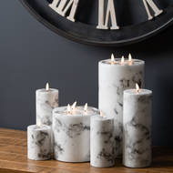 Image 2 - Luxe Collection Natural Glow 3x8 Marble Effect LED Candle