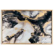 Image 1 - Marble Effect Black And Gold Glass Image In Gold Frame