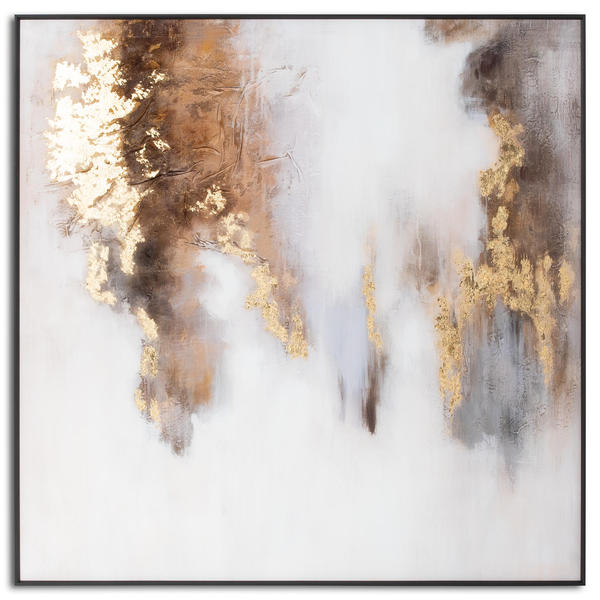 Image 1 - Metallic Soft Abstract Glass Image In Gold Frame