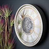 Image 5 - Mirrored Round Wall Clock with Moving Mechanism