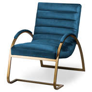 Image 1 - Navy And Brass Ribbed Ark Chair