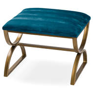 Image 1 - Navy And Brass Ribbed Footstool