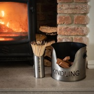 Image 2 - Pewter Finish Logs And Kindling Buckets & Matchstick Holder