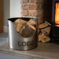 Image 3 - Pewter Finish Logs And Kindling Buckets & Matchstick Holder