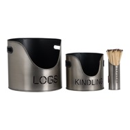 Image 4 - Pewter Finish Logs And Kindling Buckets & Matchstick Holder