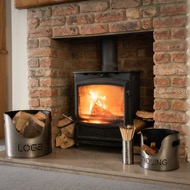 Image 1 - Pewter Finish Logs And Kindling Buckets & Matchstick Holder
