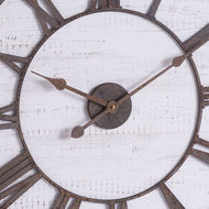 Image 2 - Rustic Wooden Wall Clock With Aged Numerals And Hands